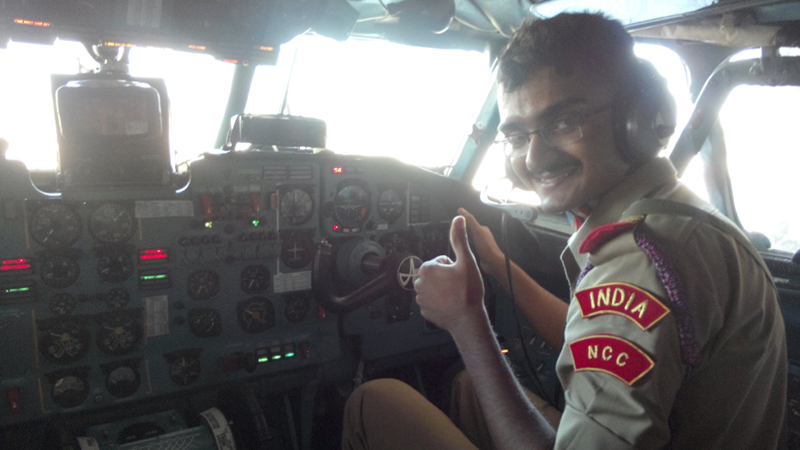 Annada College's student at Cockpit of Hellicopter
